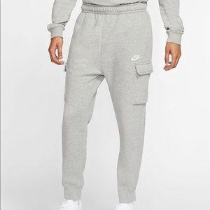Nike men's xl tall fleece cargo pant grey joggers